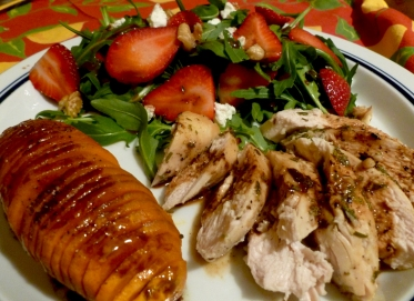 Is there anything better than a roast chicken? Ummm, well, maybe these hasselback sweet potatoes! I got so excited that I made my balsamic reduction while the potatoes cooked, then reheated it and broke the sauce. Don't do that!