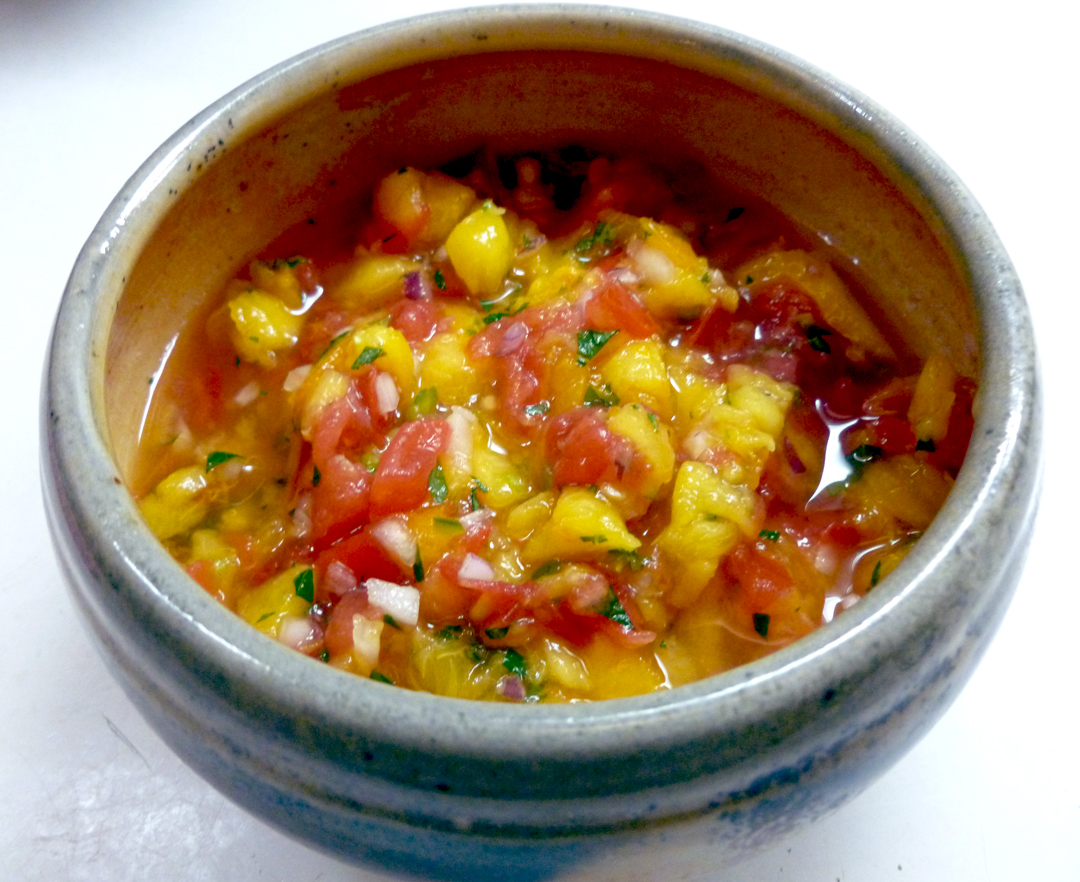 This Peach and Heirloom Tomato Pico de Gallo is terrific on it's own ...