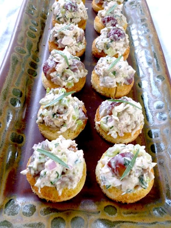 Tarragon Pecan Chicken Salad on Brioche Crostini...need I say more? But I will!