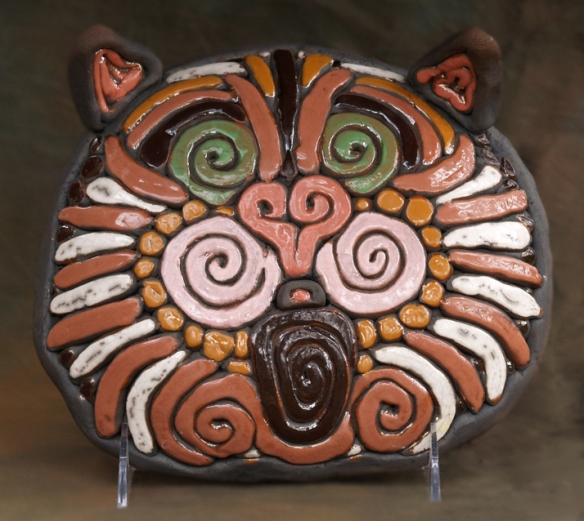 Terracotta Tabby Cat Raku Mask