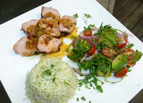 Grilled pork tenderloin with chipotle orange glaze, Mexican rice with cilantro dressing and avocado and tomato salad with toasted cumin seed dressing make for one big Fiesta!