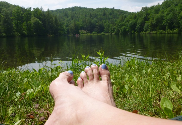 Kicked back watching the fisherman on Lake Winfield Scott.