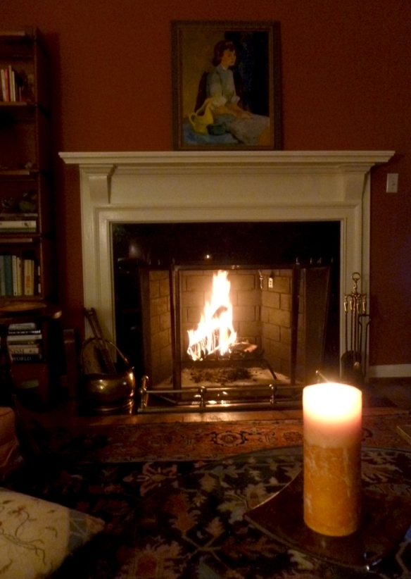 Our first fire in the newly rebuilt fireplace and chimney...home sweet home!