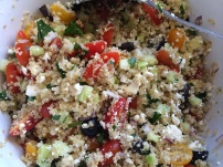 Combine the quinoa, veggies and cheese.