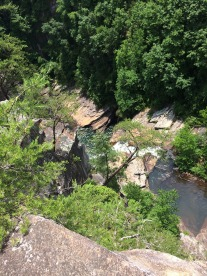 Looking down into pools before the next waterfall.