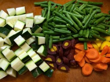 "This stew starts with lots of great veggies. The carrots are ""rainbow carrots."""