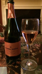 A wee glass of California rose sparkling after dessert.