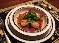 Sea Scallops in Roasted Red Pepper Chimmichurri.