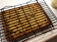 Place a second wire rack on the bottom of the blondies, then carefully invert them again.