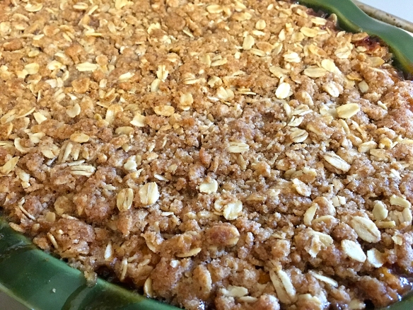 Fresh out of the oven, a sea of crispy crumble over juicy fruit is just waiting for someone to dive in!